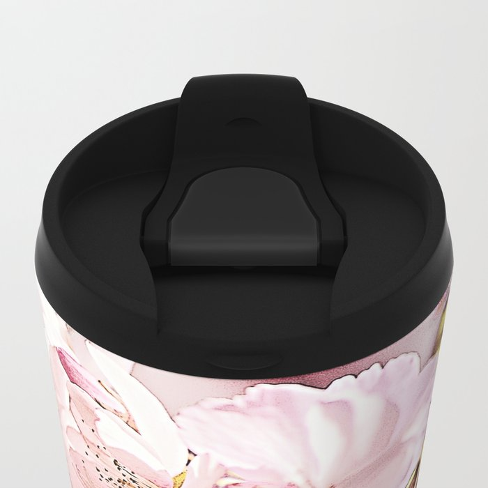 Zebra Cherry Blossom Metal Travel Mug