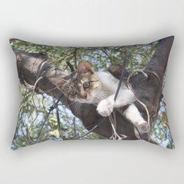 Bi-Color Tabby Cat In Tree 5 Rectangular Pillow