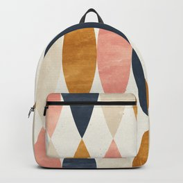 Colorful Pastel Geometric Scale Pattern Pink Navy Gold Art Deco Backpack