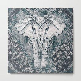 Elephant, India, Mandala, Teal, Green Metal Print