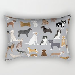 Mixed Dog lots of dogs dog lovers rescue dog art print pattern grey poodle shepherd akita corgi Rectangular Pillow