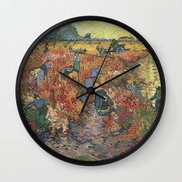 Vincent Van Gogh - The Red Vineyards in Arles Wall Clock