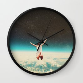 Falling with a hidden smile Wall Clock