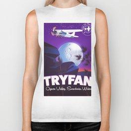 Tryfan Wales travel poster Biker Tank