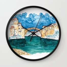Stari Most Herzegovina Sketch Wall Clock