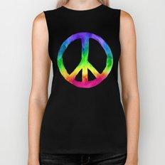 Rainbow Watercolor Peace Sign Biker Tank