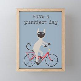 Siamese cat on bicycle Framed Mini Art Print