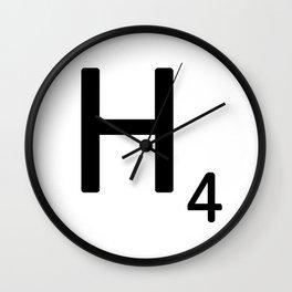 Letter H - Custom Scrabble Letter Tile Art - Scrabble H Wall Clock