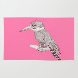 pink kingfisher bird Rug