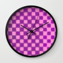Checker Game: Violet and Pink Wall Clock