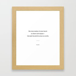Rumi Quote 20 - Minimal, Sophisticated, Modern, Classy Typewriter Print - The Most Beautiful Place Framed Art Print
