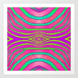 Neon Zebra Pattern Art Print