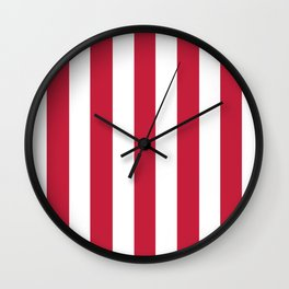 Cardinal fuchsia - solid color - white vertical lines pattern Wall Clock