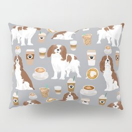Cavalier King Charles Spaniel coffee lover custom pet portrait by pet friendly dog breeds Pillow Sham
