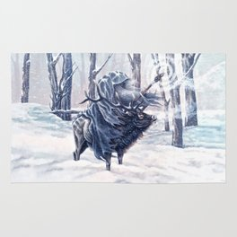 Wizard Riding an Elk in the Snow Rug