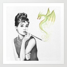 Audrey Hepburn Smoking and Dragon Art Print