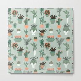 Houseplants Pattern 01 Metal Print