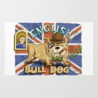 english bulldog Area & Throw Rugs featuring English Bulldog by Brian Raszka Art & Illustration