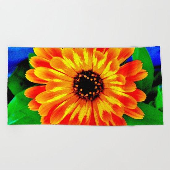 Orange Marigold Beach Towel