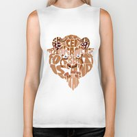 beauty and the beast Biker Tanks featuring beast by Rebecca McGoran