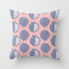 Pomegranate Pattern Coral and Purple Throw Pillow