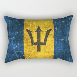 Vintage Aged and Scratched Barbados Flag Rectangular Pillow