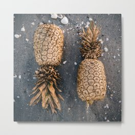 Gold Pineapple Print Metal Print