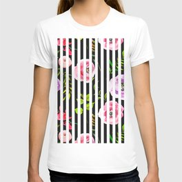 Pink lavender green watercolor floral stripes T-shirt