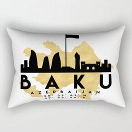BAKU AZERBAIJAN SILHOUETTE SKYLINE MAP ART Rectangular Pillow