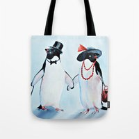 penguin Tote Bags featuring Penguin by Anna Shell