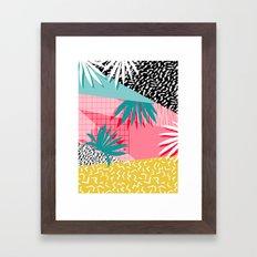 Bingo - throwback retro memphis neon tropical socal desert festival trendy hipster pattern pop art  Framed Art Print