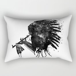 Indian with Headdress Black and White Silhouette Rectangular Pillow