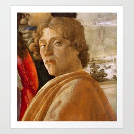 Sandro Botticelli Probable self-portrait of Botticelli, in his Adoration of the Magi (1475) Art Print
