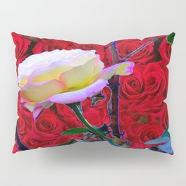 YELLOW ROSE  ON RED ROSES GARDEN ABSTRACT Pillow Sham