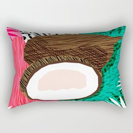 Bada Bing - memphis throwback tropical coconuts food vegan nature abstract illo neon 1980s 80s style Rectangular Pillow