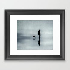 walking the dog Framed Art Print