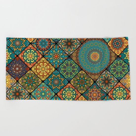 Vintage patchwork with floral mandala elements Beach Towel