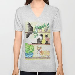 Cats, Corgi, Plants on Shelves Unisex V-Neck