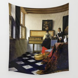 Johannes Vermeer  - The Music Lesson Wall Tapestry