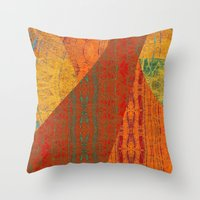banana leaf Throw Pillows featuring Rakhi Banana Leaf with Red by Pistachia