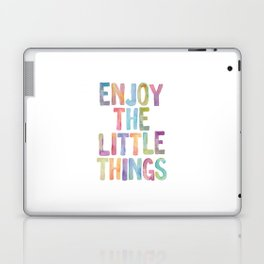Enjoy the Little Things Watercolor Rainbow Design Inspirational Quote bedroom Wall Art Home Decor Laptop & iPad Skin