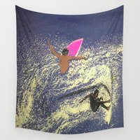 surfing Wall Tapestries featuring SURFING by aztosaha