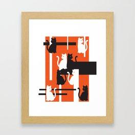 Cat in De Stijl - Halloween Edition Framed Art Print