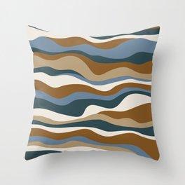Cordillera Stripe: Teal Blue & Rusty Orange Combo Throw Pillow