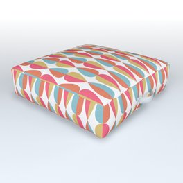 Retro 1970s Vintage Inspired Teardrop Pattern in Turquoise Orange Pink and Golden Yellow Outdoor Floor Cushion