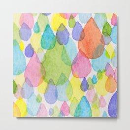 Colourful Raindrops Metal Print