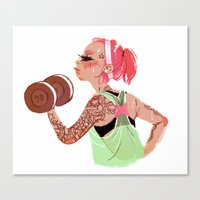workout Canvas Prints featuring Workout Girl by TCFischer