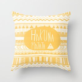 Hakuna Matata Yellow Throw Pillow