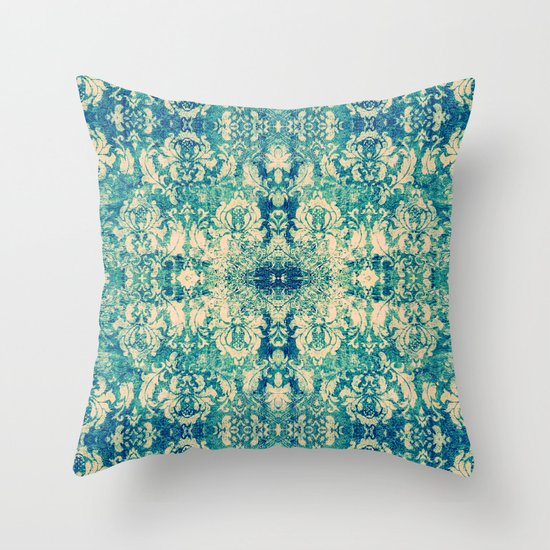 Vintage Blue Throw Pillows : Vintage Blue Turquoise Floral Damask Pattern Throw Pillow by Girly Road Society6