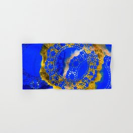 Royal Blue and Gold Abstract Lace Design Hand & Bath Towel